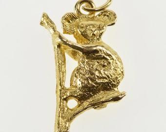 9K Textured Koala Bear Australian Marsupial Animal Charm/Pendant Yellow Gold