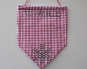 flag medals ski in gingham pink and silver