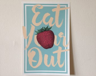 Eat Your (Strawberry) Heart Out Poster // Clean Plate Series