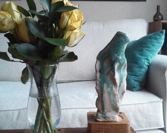 Handmade Green Bottle / Vase Pottery