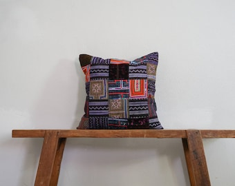 """Upcycled Vintage Thai 16"""" by 16"""" Cushion Cover Hmong Hill Tribe Ethnic Batik Thai Cross Stitch Cotton"""