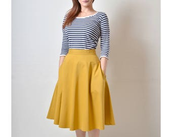 Yellow Skirt, Mustard Midi skirt, Flared Skirt, Cotton Skirt with Pockets