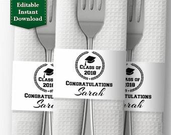 Graduation Party Decoration - Napkin Wrapper Template, Personalized Napkin Band, Printable Napkin Ring - Graduation Cap Class of 2018