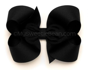 """Black Boutique Bow, 4 inch Hair Bow, Black Bow, Basic Black Bow, BIg Hair Bow, 4"""" Grosgrain Bow, Black Hair Bow for Girls, Toddlers, Baby"""
