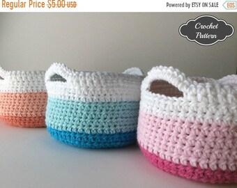 SPRING SALE CROCHET Pattern - Crochet Basket Pattern, Crochet Home Decor, Spring Decor, Crochet Storage Basket, Crochet to Calm, Desiree Hob