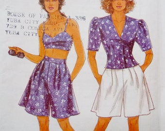Bralette Top, Flared Shorts, Jacket, Resort Wear, Simplicity 7663 EASY Sewing Pattern Miss Sizes 8 10 12 14 16 18 20 UNCUT 1990s