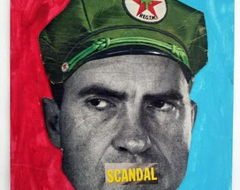 Scandal, Collage made from Vintage Paper Ephemera, Nixon