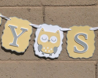 Owl Gender Neutral baby shower banner. Owl baby shower banner. Yellow and grey.