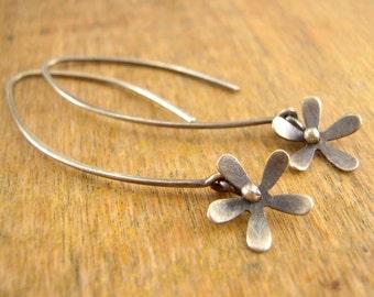 Silver flower earrings. Long dangly tiny flower earrings, dainty flower, tiny flower.