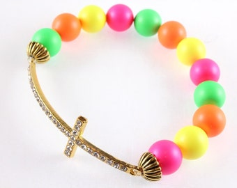 Sideways Cross Stretch Bracelet, Neon Bracelet, Swarovski Pearl Bracelet, Neon Green, Neon Pink, Neon Yellow, Neon Orange