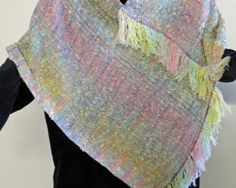 Poncho, Handwoven and Handmade.Chenille and Boucle Yarns  In Sorbet Colors.