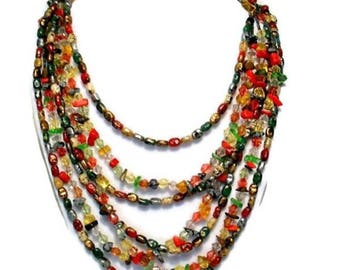 "Vintage Earthtone Retro Seed Bead Multistrand 24"" Necklace"