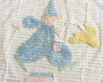 Vintage 1950s Baby Blanket / Chenille Baby Childs Blanket Bed Cover 44x62 White Pastel Clown Chasing Bunny Rabbit Wall Hanging