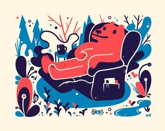 Red Bear Screenprint - Bear Print 8x10