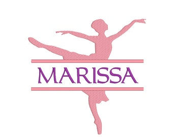 BUY 2 GET 1 FREE - 4 Sizes - Split Ballerina Silhouette Machine Embroidery Design - Personalize With Your Own Font - Ballet, Dance, Monogram