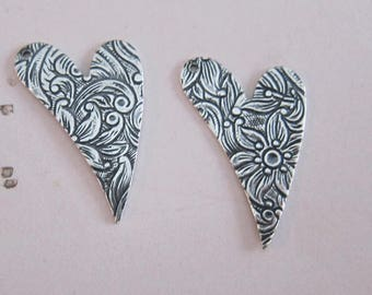 2 Silver Heart Charms 2833