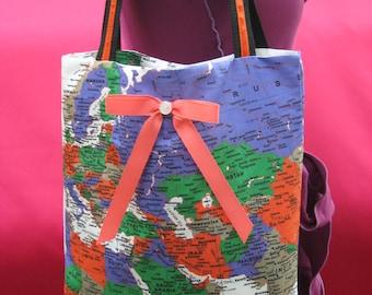Map belt bag etsy world map handbag shoulder bag diaper bag with peach bow decoration in front side plus gumiabroncs Images