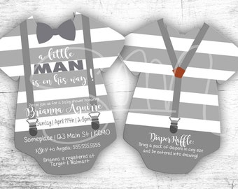 NEW E-vite Gray and White Striped Baby Shower Onsie Invitations-Digital or printed die cut envelopes 1st birthday first