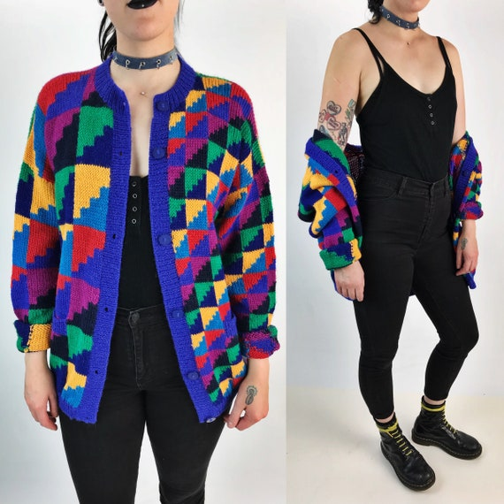 80's Rainbow Geometric Print Cardigan Large - Colorful Alpaca Knitted Button Front Jumper - Vintage Colorblock Knit Womens Op Art Cardigan