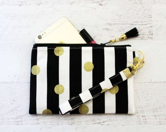 Gold dots on stripes wristlet - small wristlet - wristlet wallet - gold wristlet - black wristlet - small clutch - phone wristelt - pouch