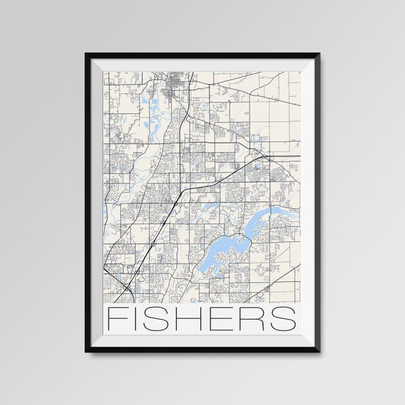 FISHERS Indiana Map Fishers City Map Print Fishers Map