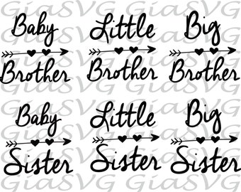 Baby Brother / Sister SVG, Little Brother / Sister SVG, ready to cut files for Cricut - Silhouette etc, family svg, dxf, png, eps format
