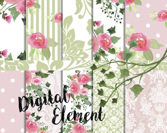 Pink Floral Digital Paper  Watercolor Pink Peony Paper Lacey Watercolor Floral Paper. No. P190