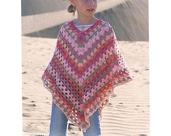 Girl's crochet handmade summer light poncho in 100% cotton, multicolor, sizes5-7, 8-10, 12-14 years