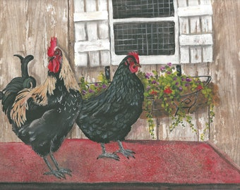 Aceo Hen and Rooster Lacey & Jake