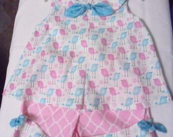 2-piece Shorts & Top Set-Pink and Aqua Birds-Easy Care-Cotton-Pastel Colors_Sizes 3-8
