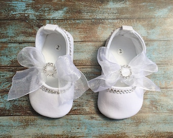 Baby Girls Swarovski Crystals bling bling Christening Shoes, white, 12-18 months
