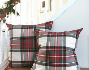 Plaid Pillow Cover, Red Plaid Pillow Cover, Tartan Plaid Pillow Cover, Cream Plaid Pillow Cover, Christmas Cushion Cover