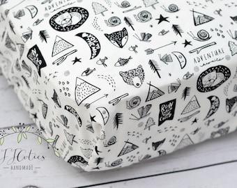 Fitted Crib Sheets-Woodland Fox Teepee Arrow Crib Sheets-Baby Girl Crib Bedding-Woodland Nursery Bedding-Black White Baby Nursery Bedding