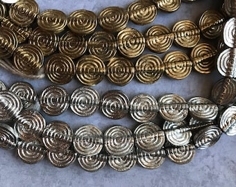 11mm Flat Spiral African Metal Beads, Choice of Finish, African Brass Beads, African Beads, Brass Beads, Bead Strands