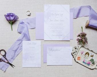 Lavender Watercolor Invitation Beach Wedding Romantic Suite Destination Wedding Invite Dusty Purple SAMPLE
