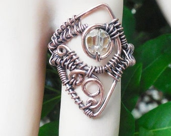 Copper wire wrapped ring, wire wrapped jewelry, bohemian rings, bohemian jewelry, wire wrapped ring, unique boho rings, size 8 ring