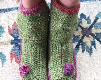 Womens Crochet Slipper Boot Pattern With Flower Trim 3 Sizes Instant Download