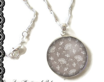 925 Sterling Silver Chain: 25 mm cabochon necklace * flowers * (080218)