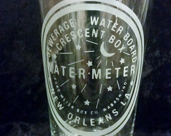 Water Meter Pint Glass New Orleans Pint Glass Water Meter Glassware Who Dat Nation Pint Glass Etched Beer Pint Gift For Him or Her