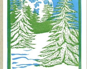 Winter Wonderland Letterpress Printed Holiday or Christmas Card