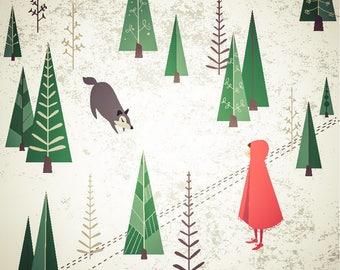 """Nursery Art, Fairy Tale Art, """"Little Red Riding Hood"""""""