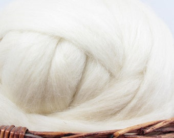 Wensleydale Wool Top Roving - Undyed Spinning & Felting Fiber / 1oz