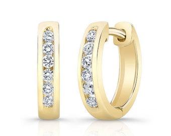 Barkevs, Yellow Gold & Diamond Hoop Earrings, Gold Earrings, Diamond Earrings, Earrings, Hoop Earrings, Diamond Huggie Earrings, M2002EY