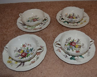 Spode Gainsborough Soup Bowls and Saucers Old Mark Nice Condition  - J8