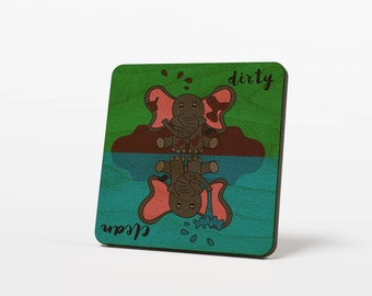 Elephant Clean Dirty Dishwasher Magnet, Funny  Cartoon, Wood Kitchen Magnet Notifier Sign