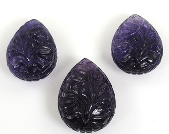 Amethyst Natural Cabochon : 50ct Hand Carved 100% Natural Purple Amethyst Pear Gemstone 21*16*10h & 19*14*9h
