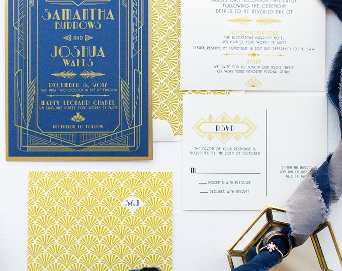 Navy Blue and  Metallic Gold Art Deco Great Gatsby Roaring Twenties Themed Wedding Invitation, Details Insert & RSVP. Different Colors