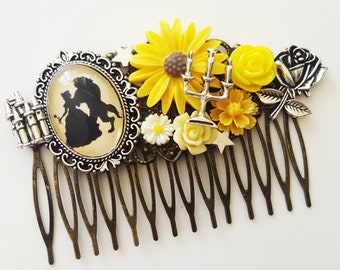 Belle and Beast Disney Silhouette Beauty Fairytale Cameo Handmade Bridal Hair Comb Wedding Hair Disney Wedding Gift for Her