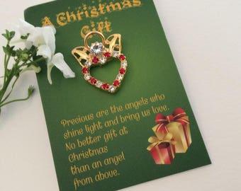 Angel Pin Christmas Heart keepsake Gift Keepsake Red crystal rhinestones