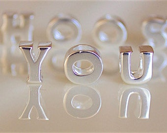 BUNCHABEADS Initial Alphabet Letter A-Z Bead Charm 925 Sterling Silver